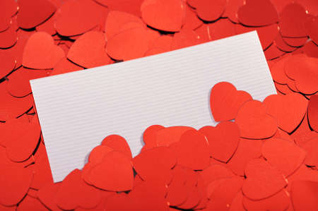 cordiality: Red glitter hearts with white greeting card