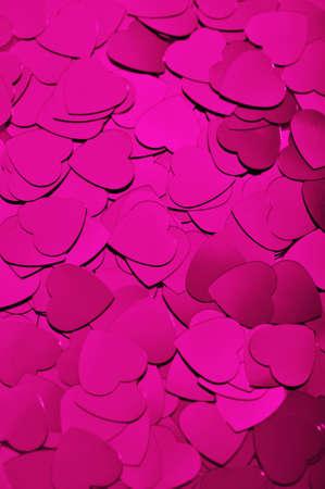 agradecimiento: vista de primer plano de muchos peque�os corazones pink glitter