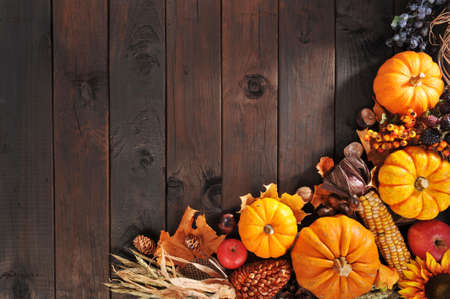 pumpkin, pomegranate, apple, nuts, berries and grain on old weathered wooden floor Stock Photo