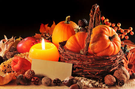 corn flower: Thanksgiving - different pumpkins, nuts, maize cob and apple in rattan basket with candlelight and copyspace
