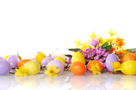 pink pussy: original easter eggs in yellow, violet and orange with flowers and catkin on white background
