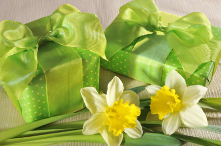 mother'sday: two green mothersday presents with narcissus on tablecloth Stock Photo