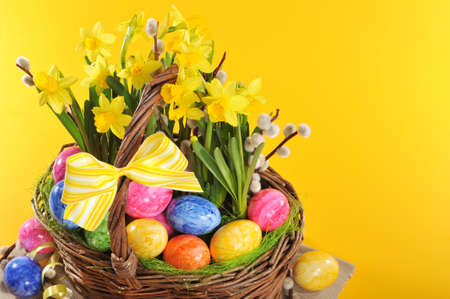 hen's: Easter basket with eggs, narcissus and catkin