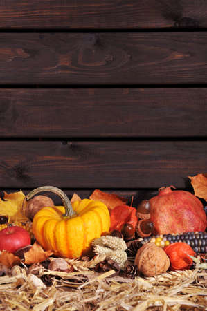corn flower: Thanksgiving vegetable and fruits on straw in front of old weathered wooden boards with copyspace