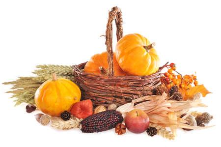 canastas con frutas: Acción de gracias calabazas diferentes frutos secos bayas y granos en la cesta de mimbre en el fondo blanco con espacio de copia