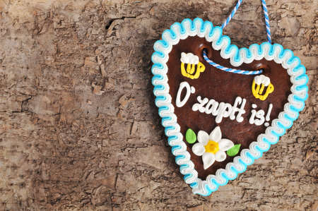Original Bavarian Oktoberfest gingerbread heart on real brown tree bark