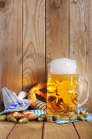 original bavarian pretzels soft with Oktoberfest beer mug and costume has from Germany