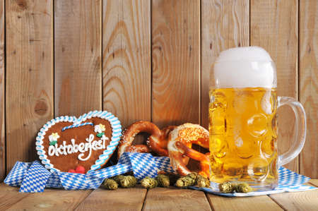 Original Bavarian Oktoberfest gingerbread heart with beer mug and soft pretzels from Germany Banco de Imagens - 41642087