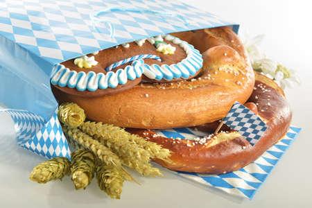 Bavarian Oktoberfest paper shopping bag with gingerbread heart soft pretzel hops and wheat