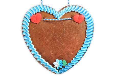 unlabeled original bavarian gingerbread heart from Germany on white background