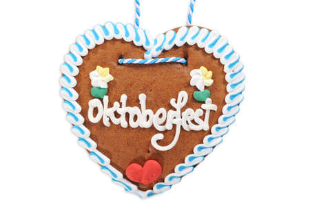 Original Bavarian Oktoberfest gingerbread heart from Germany on white background