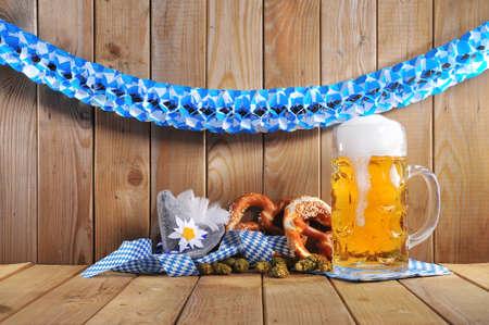 oktoberfest: original bavarian pretzels soft with Oktoberfest beer mug and costume has from Germany