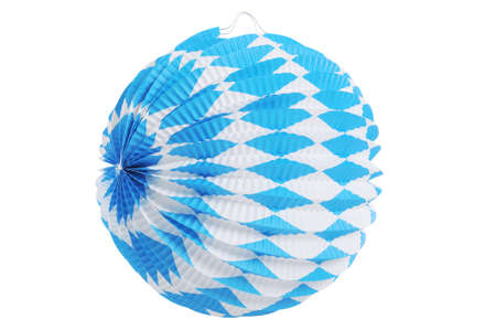 paper lantern: Original Bavarian paper lantern from Germany with diamond pattern. Classic beer tent decoration. Isolated on white. Stock Photo