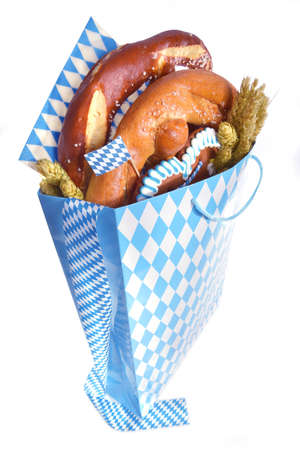 gingerbread heart: Bavarian Oktoberfest paper shopping bag with gingerbread heart soft, pretzel, hops and wheat from Germany