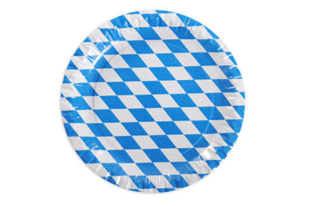 original plate: Original Bavarian paper plate from Germany with diamond pattern. Classic beer tent decoration. Isolated on white.