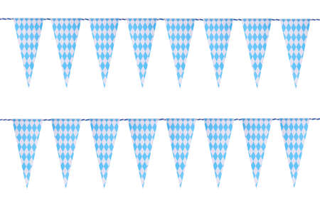 festoon: Original Bavarian bunting festoon from Germany with diamond pattern. Classic beer tent decoration. Isolated on white.