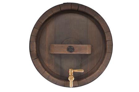 spigot: old oak beer barrel with brazen spigot isolated on white