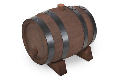 Old beer barrel with stand isolated on white Stock Photo