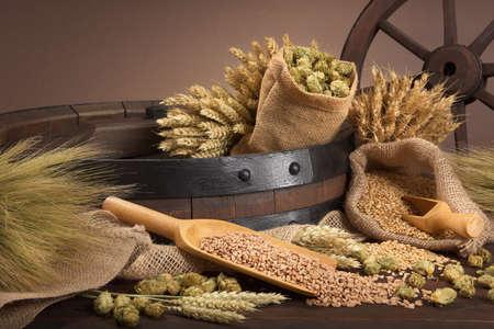 beer barrel with hops, wheat, grain, barley and malt Standard-Bild