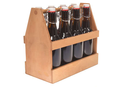 Wooden beer crate with clip closure beer bottles isolated on white Stok Fotoğraf