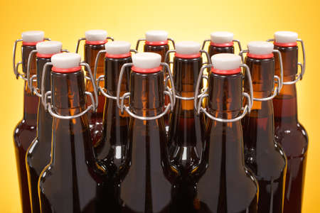 close-up view of many beer bottles with clip closure