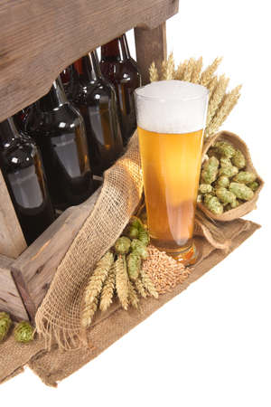 beer crate and beer glass with hops, wheat, grain, barley and malt isolated on white