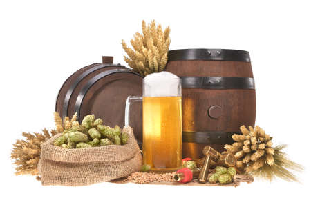 beerglass: beer glass and two beer barrels with hops, wheat, grain, barley and malt isolated on white