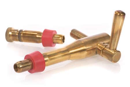 spigot: self-made, handmade manufactured beer spigot made of brazen with red rubber joint