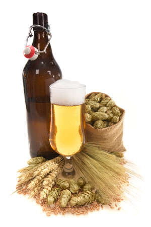 XXL beer bottle, beer glass and beer barrel with hops, wheat, grain, barley and malt