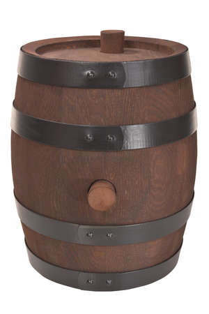 old dark brown wood barrel with iron rings isolated on white Stock Photo