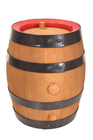 old beer barrel with red rings isolated on white