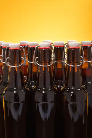 closure: close-up view of many beer bottles with clip closure