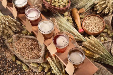啤酒箱有許多種不同的啤酒,啤酒花,小麥,穀物,大麥和麥芽