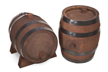 old beer barrels with stand isolated on white