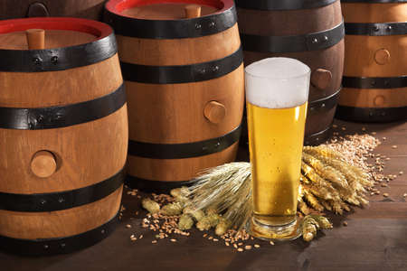 beerglass: beer glass, beer barrels, hops, wheat, grain, barley and malt