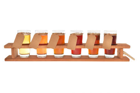 beer crate with many different beers, isolated on white