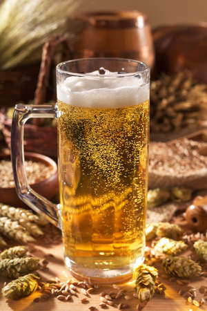 beerglass: beer mug with hops, wheat, grain, barley and malt