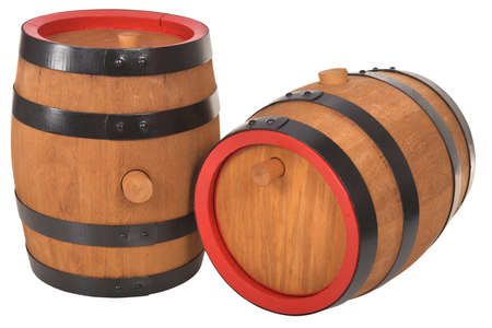 Two old beer barrels with red rings isolated on white Stock Photo