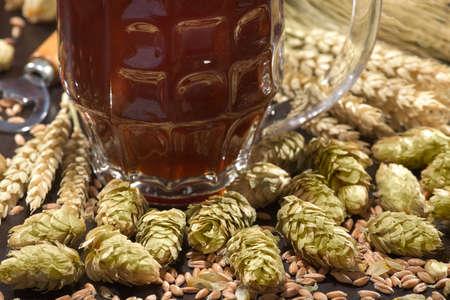 一杯啤酒,桶裝啤酒,啤酒花,小麥,穀物,大麥和麥芽 版權商用圖片