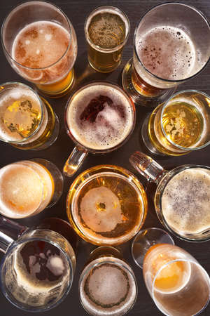 beerglass: Many different beer glasses with beer from all over the world Stock Photo