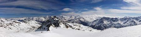 The Alps winter morning mountain panorama at Austria Solden ski resort. Stock Photo