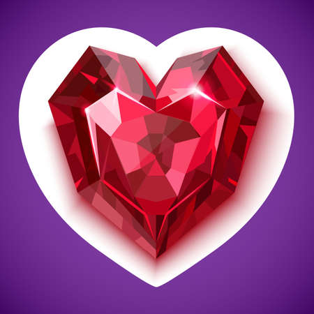 the substrate: Ruby red angular heart with shadow on a white substrate in the form of heart on a colored background vector eps 10 rgb illustration Illustration