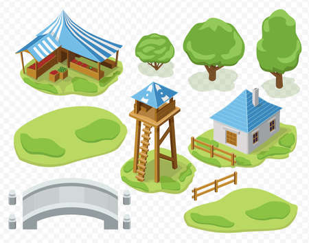 the settlement: 3d vector isolated elements of settlement, watch tower and market and house and stone bridge trees grass for game or web template Illustration