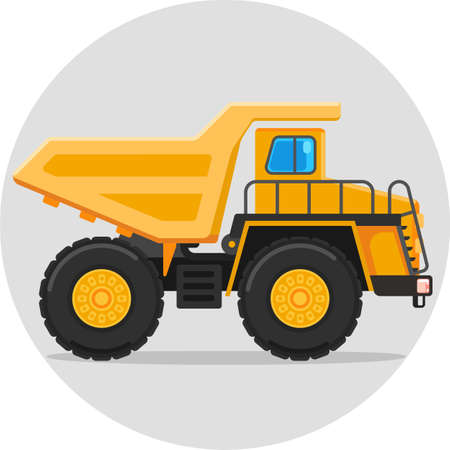 mine site: dump truck flat vector color icon with shadow Illustration