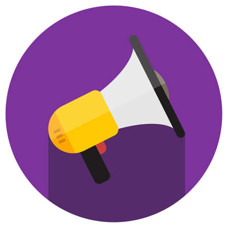 urgent announcement: Speaker flat color vector icon with long shadow in circle Illustration