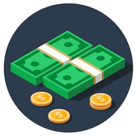 isometric dollar piles flat color vector icon with gold dollar coins in circle
