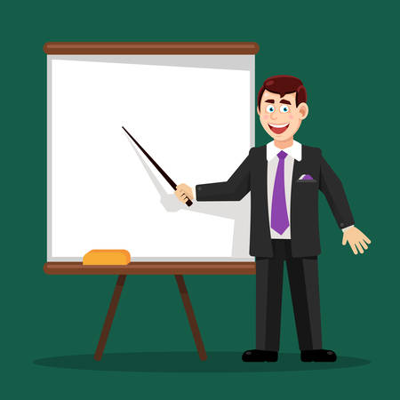 white board: Suit man with a pointer at the white board