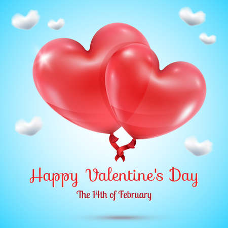red balloons: Two loving intertwined red ribbon connected balloons illustration on blue sky and clouds hearts background greeting text Happy Valentines Day February 14 Illustration