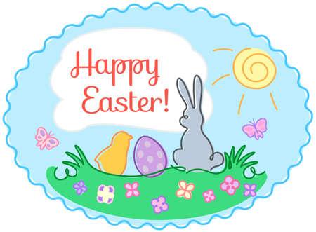 huevo caricatura: contorno de Pascua ilustraci�n de la tarjeta de felicitaci�n de frontera oval dibujado a mano, Tarjeta de Pascua feliz, ilustraci�n