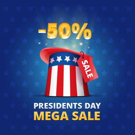 wonder: Poster United States Presidents day MEGA SALE trade action illustration with hat colors of usa flag wonder focus lights sign percent and stars background Illustration